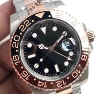 الرجال ووتش GMTII m126711chnr-0002 تدوير السيراميك مدي 40MM الأسود الهاتفي حركة التلقائية ساعة اليد الأصلية