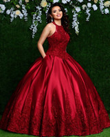 Gorgeous Red Ball Gown Quinceanera Dresses Halter Neck Beaded Sweet 16 Dresses vestidos de quinceañera vestidos de 15 años 2020