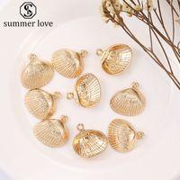 Hoge kwaliteit gouden shell hangende zinklegering kleur behoudende galvaniseren accessoires charms ketting armband connectoren sieraden-z