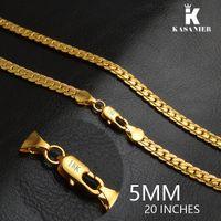 Kasanier al por mayor de hombres collares de 5 mm de ancho de color oro collares de color joyería garantizado largo color para joyería cubana para hombre regalo