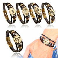 Douze Constellation punk Bracelet Fait main en cuir couples bracelets Bracelet en PU pour le cadeau de Noël gratuit TNT Fedex