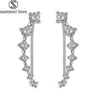 7 Crystals Ear Cuffs Hoop Climber Zirkonia Ohrringe U Art Ohr-Clips für Frauen Mädchen Valentinstag Schmuck Geschenk-Z