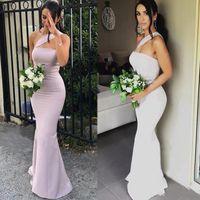 Vestidos de dama de honor de la sirena moderna para bodas satinados de un hombro sin mangas de la longitud de la longitud de la longitud de la longitud de la longitud de la dama de honor formal