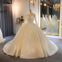 Luxury 2020 Sequins Ball Gown Wedding Dresses Sheer Jewel Ne...