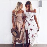 boho نمط فستان طويل نساء معطلة فساتين الصيف الشاطئ الكتف الأزهار المطبوعة خمر الشيفون ماكسي فستان أبيض vestidos دي فيستا