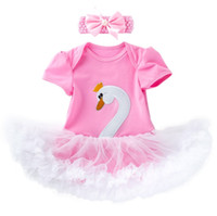 0- 2 years newborn baby cute swan romper tutus with headband ...