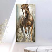 Вертикальная Холст Лошадь Картина КУАДРОС Картины на стене Декор Главная Холст Плакаты Печать изображений Art без рамки