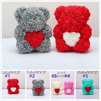 뜨거운 판매 25cm 곰 심장 인공 꽃 홈 결혼식 축제 DIY 저렴한 웨딩 장식 공예 Christma에 대 한 최고의 선물