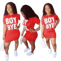 Heiße verkaufende Frauen-Sommer-Röcke T-Shirt Miniröcke Solid Color Boy Bye beschriften das gedruckte kurze Hülsen-Kleid-reizvolle Nachtclub-Kleid D6906