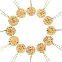 12 Constellation Collier Pendentif Signe Zodiac Gold Coin disque Pendentif Zodiac Colliers pour Bijoux Déclaration Hommes Femmes avec un cadeau de couleur d'or