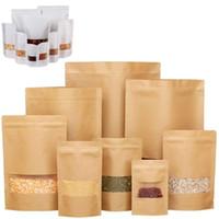 Buzlu Cam Mühürlenebilir Çanta 10 ÖLÇÜLER Kraft Kağıt Kilitli Torba Standı Yukarı Gıda Saklama Poşetleri Konteyner için Snacks Torbalar Şeker Kurabiye Paketi