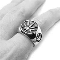 size 7-15 Support Dropship Golden Silver Leaf Ring 316L Stainless Steel Jewelry Cool Men Boys Punk Ring