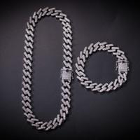 Хип-хоп ожерелье Strip Майами кубинских цепей Циркон шипованных Hip-Hop ожерелье для мужчин европейского и американских аксессуары Hot