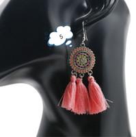 Bohemia charme brincos de borla mulheres leves de jóias pingente longo geométrico