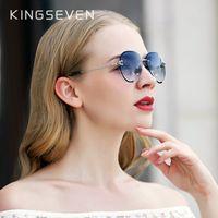 KINGSEVEN Diseño de las mujeres sin montura gafas de piloto azul degradado de la lente de la protección UV400 CX200706