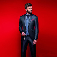 Esmoquin de boda azul marino oscuro Slim Fit Mens Groom Wear One Button Groom Wear Custom Made Three Pieces Cheap Formal Suit (Jacket + Pants)