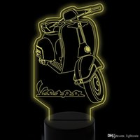 Presente Xmas Lamp LED 7 cores em mudança visual 3D Scooter Led Night Lights For Kids Touch USB Lampara Motorcycle Desk Lamp Home Decor Lighting