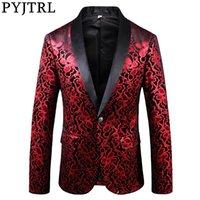 PYJTRL Yeni Quanlity Blazer Erkekler Çiçek Desen Dar Kesim Ceket Prom Parti Şarkıcılar Kostüm Giydirme Giysi