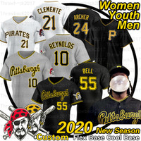 Pittsburgh Josh Bell Jersey Roberto Clemente 21 Melky Cabrera Adam Frazier Francisco Cervelli Jameson Taillon 2020 Saison Baseball Trikots