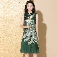 vestido elegante verano de las mujeres Phoenix bordado Qipao Asia mangas ropa cosplay partido del vestido del cheongsam de la ropa étnica