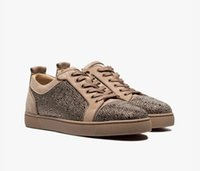 Casual Shoes Italia inferiore rossa Strass Uomo Sneaker Nero Blu Beige Louisflat Strass-Impreziosito Low-Top Suede Sneakers Trainers Walking