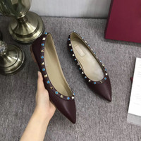 sale! b050 34 40 genuine leather v stud ballerina flats blue black nude red yellow rose pink luxury designer runway classic fashion womens