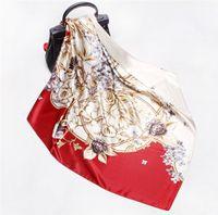 As novas senhoras cachecol de verão cetim de seda 90cm quadrados lenço fuligem lenço roxo moda