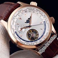 Master Control World Geographic Q1522420 Розовое золото Серебряный циферблат Moon Phase Tourbillon Автоматические мужские часы Коричневые кожаные часы Puretime 3b