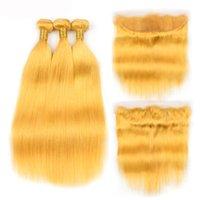 Barato Amarelo Remy Remy Human Weave Bundles com 13x4 Lace Frontal Fechamento Frete Grátis