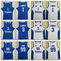 Lituania Prienu Vytautas Baloncesto Jersey 1 Lamelo Ball 3 Liangelo Ball Uniform 99 Lavar Ball Hombres Camisas Equipo Azul Blanco cosido