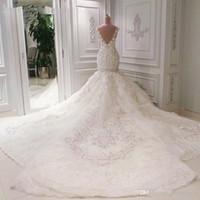 2020 Michael Cinco Sparkly Spitze Meerjungfrau Brautkleider Kathedrale Zug 3D Blumen V-Ausschnitt Backless Dubai Arabisch Fischtail Brautkleid