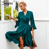 Abiti casual Simplee Elegant Donne Donne Satin Dress Raffiglia Flare Sleeve Lady Wrap 2021 autunno inverno verde sexy femmina vestidos festidos