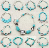 Ny mode turkos armband sidovy Elephant Cross stretch armband pärlstav Bracele Bangle Wristband Women Bracelets B0352