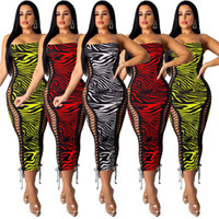 Print Sexy Figurbetontes Schnürkleid Frauen Hohe Taille Ärmellos Club Party Kleid Sommer Mujer Slash Neck Midi Kleid N19.7-2121