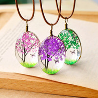 New Fashion Handmade Dried Flowers Necklace Oval Ball Glass ...