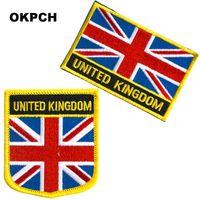 Freies Verschiffen-Vereinigtes Königreich-Flaggen-Stickerei-Eisen auf Flecken 2pcs pro Satz PT0210-2
