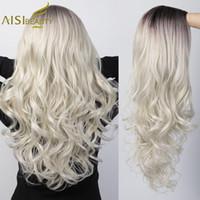Sintético AISI largo de la belleza ondulado peluca rubia platino Ombre pelucas de las mujeres para la parte media afroamericana Negro gris de Cosplay