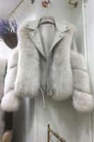 Remiendo de la PU de cuero a su vez de 2020 nuevas mujeres del diseño hacia abajo manga larga cuello de imitación de piel de zorro casacos capa de la chaqueta corta