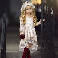 good quality Baby Girls Dress elegant Long Sleeve Solid Tass...