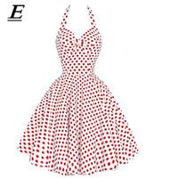 12616d7891393 2019 Yeni Kadın Vintage Elbise Pembe Polka Dot Yaz Elbiseler Artı Boyutu  Pin Up Baskı Retro