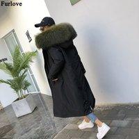 Furlove 2019 X-Long Parka Veste d'hiver Les vraies femmes manteau de fourrure noire Mode Casual Parkas chaud épais de fourrure vêtement Streetwear Nouveau T191122