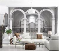 Benutzerdefinierte großformatige Fototapete Wandbild 3d nordischen römischen Säulenbogen stereoskopische TV Hintergrund Wand Papel de Parede