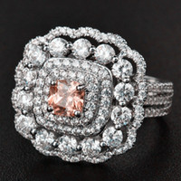 Marca de joyería Corte de princesa Zafiro rosa Piedra de nacimiento Anillo de diamantes Plata de ley 925 Anillos de compromiso de boda nupciales llenos Tamaño 5-12
