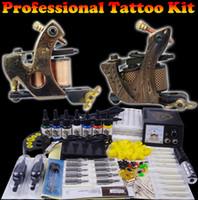 Tattoo Beruf kompletten Tattoo-Set für Anfänger 2 Pro Maschine 7 Farben-Tinten-Nadeln Stromversorgung Grip-Praxis-Haut-Set