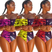 النساء 2 قطعة ملابس سباحة مصمم انتفض البرازيلي ومحب فاخر بيكيني مجموعة ملابس السباحة كامو القرش ملابس السباحة ثوب السباحة Playsuit D6204 الساخنة