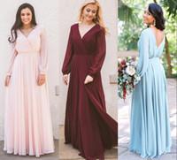 Herbsthochzeit Langarm Chiffon Brautjungfer Kleider V-Ausschnitt Lange Sonderanfertigungen Maid of Honor Dress Party Wear Plus Größe BM0238