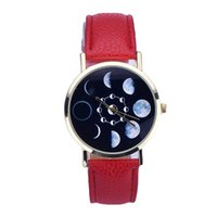 Women Lunar Eclipse Pattern Fashion Casual Orologio Donna Bu...