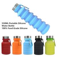 550 mi 19oz Taşınabilir Geri çekilebilir Silikon Su Şişesi Katlama Katlanır Kahve Su Şişesi Seyahat İçme Şişe Bardaklar Kupalar BPA Free