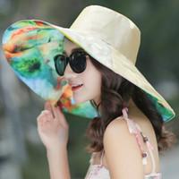 كبير الحواف أحد أغطية للرأس قابلة للطي المرنة Sunhats إمرأة قبعة الصيف تنفس كاب في الهواء الطلق شاطئ قبعة الشمس أغطية الرأس LJJJ152