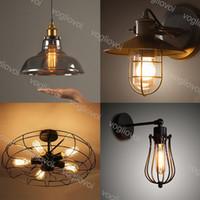 Pendentif Lampes Loft Retro Vintage Vintage Industrial Wall Lights Lampe de plafond Iron E27 Pour Vêtements Magasin Magasin Cuisine Salle à manger Balcon DHL